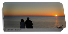 Portable Battery Charger featuring the photograph Couple Silhouettes By Sunset by Kennerth and Birgitta Kullman