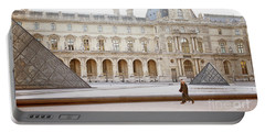 Portable Battery Charger featuring the photograph Couple Strolling At Louvre Museum  by Ivy Ho