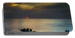 Couple Watching Sunset Portable Battery Charger by John Williams