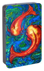 Portable Battery Charger featuring the painting Courtship  by Rae Chichilnitsky