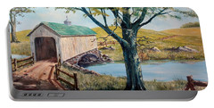 Covered Bridge, Americana, Folk Art Portable Battery Charger