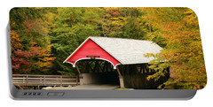 Covered Bridge In Autumn Portable Battery Charger by James Kirkikis
