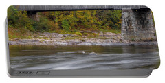 Covered Bridge In Vermont With Fall Foliage Portable Battery Charger