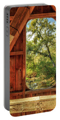 Portable Battery Charger featuring the photograph Covered Bridge Window by James Eddy