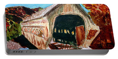 Portable Battery Charger featuring the painting Covered Bridge Woodstock Vt by Donna Walsh