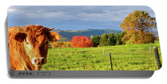 Cow And Autumn Colors  Portable Battery Charger