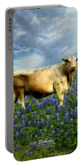 Portable Battery Charger featuring the photograph Cow And Bluebonnets by Barbara Tristan
