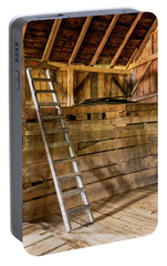 Portable Battery Charger featuring the photograph Cow Barn Ladder by Tom Singleton