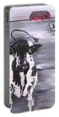 Cow In Winter Portable Battery Charger by Terri Einer