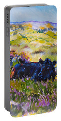 Cow Lying Down Among Plants Portable Battery Charger