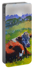 Cow Lying Down On A Sunny Day Portable Battery Charger