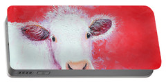 Cow Painting - Charolais Portable Battery Charger