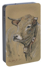 Cow Portrait Painting Portable Battery Charger by Juan Bosco