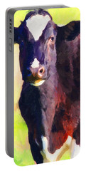 Portable Battery Charger featuring the photograph Cow Stare 2 . Photoart by Wingsdomain Art and Photography