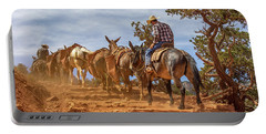Cowboy And Mule Train On The South Kaibab Trail In The Grand Canyon Portable Battery Charger