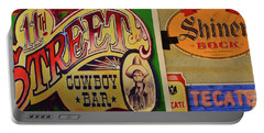 Cowboy Bar And Beer Portable Battery Charger by Nadalyn Larsen