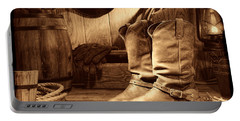 Cowboy Boots In A Ranch Barn Portable Battery Charger