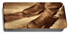 Cowboy Boots On Saloon Floor Portable Battery Charger