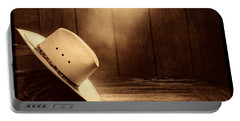 Cowboy Hat In The Old Barn Portable Battery Charger