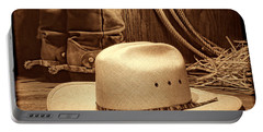 Cowboy Hat With Western Boots Portable Battery Charger