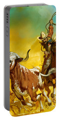Cowboy Lassoing Cattle  Portable Battery Charger