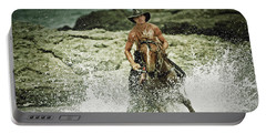 Cowboy Riding Horse Across The River Portable Battery Charger