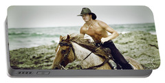 Cowboy Riding Horse On The Beach Portable Battery Charger