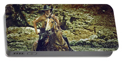 Cowboy Riding In The Sea Portable Battery Charger