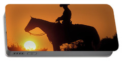 Cowboy Sunset Silhouette Portable Battery Charger