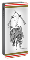 Portable Battery Charger featuring the drawing Cowboy Tribute by Jack Pumphrey