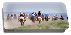 Cowboys And Cowgirls Riding Horses At The Sombrero Horse Drive Portable Battery Charger