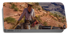 Cowgirl Leading A Mule Train On The South Kaibab Trail Portable Battery Charger