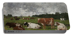 Cows At The Pasture Portable Battery Charger by Eugene Louis Boudin