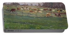 Cows In A Farm, Georgetown  Portable Battery Charger