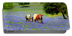 Cows In Texas Bluebonnets Portable Battery Charger by Kathy White