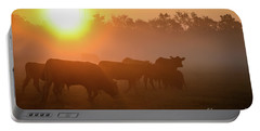 Cows In The Sunrise Mist Portable Battery Charger