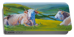 Cows Lying Down In Devon Hills Portable Battery Charger
