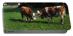 Cows Nuzzling Portable Battery Charger by Sally Weigand