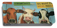 Cows On Strike Portable Battery Charger by Leah Saulnier The Painting Maniac