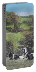 Cows Sitting By Hill Relaxing Portable Battery Charger