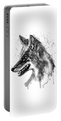 Portable Battery Charger featuring the mixed media Coyote Head Black And White by Marian Voicu