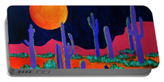 Portable Battery Charger featuring the painting Coyote Moon by Jeanette French