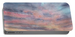 Portable Battery Charger featuring the painting Coyote Sunset by Betsy Hackett