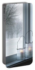 Cozy Lanterns And Winter Landscape Seen Through The Window Portable Battery Charger