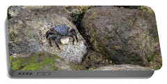 Portable Battery Charger featuring the photograph Crab On Rocks by Suzanne Luft