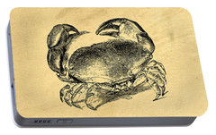 Portable Battery Charger featuring the drawing Crab Vintage by Edward Fielding