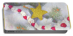 Portable Battery Charger featuring the painting Cranberry Garland With Gold Christmas Star by Nancy Lee Moran