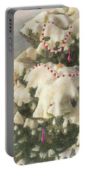 Portable Battery Charger featuring the painting Cranberry Garlands Christmas Blue Spruce by Nancy Lee Moran