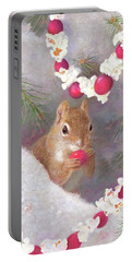 Portable Battery Charger featuring the painting Cranberry Garlands Christmas Squirrel by Nancy Lee Moran