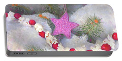 Portable Battery Charger featuring the painting Cranberry Garlands Christmas Star In Orchid by Nancy Lee Moran